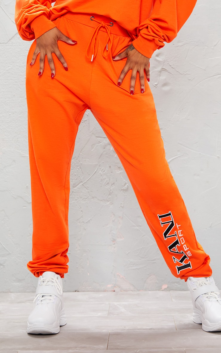 KARL KANI Orange Embroidered Joggers  3