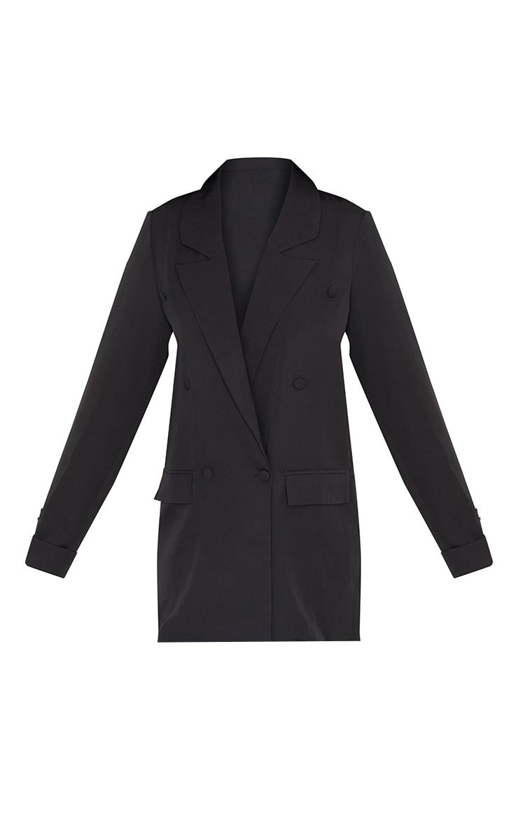 PRETTYLITTLETHING - Robe blazer noire à double boutonnière détail badge 5