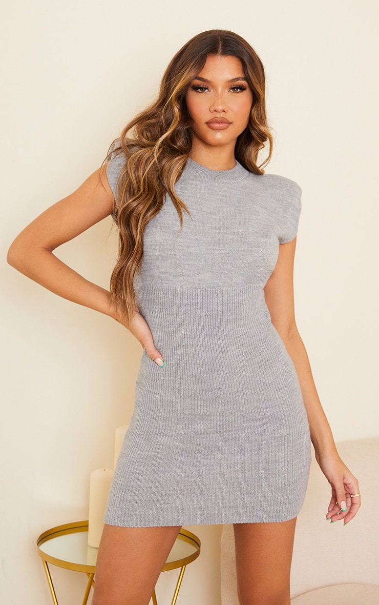 Grey Shoulder Pad Knitted Bust Detail Sleeveless Dress 1