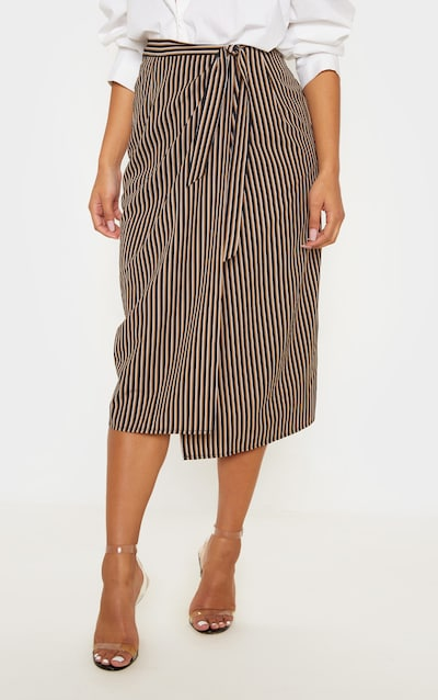 Brown Stripe Wrap Around Midi Skirt