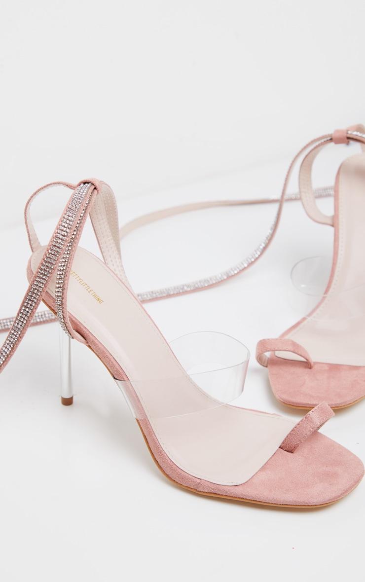 Blush Metal Heel Square Toe Diamante Ankle Tie Sandal 3