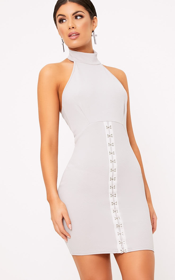 Louisa Ice Grey Halterneck Hook And Eye Detail Bodycon Dress 1