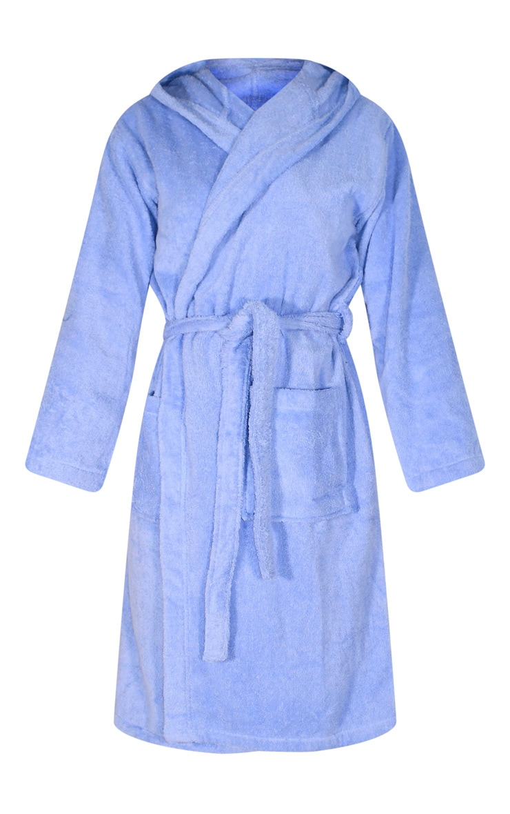 Blue Hooded Towelling Dressing Gown 5