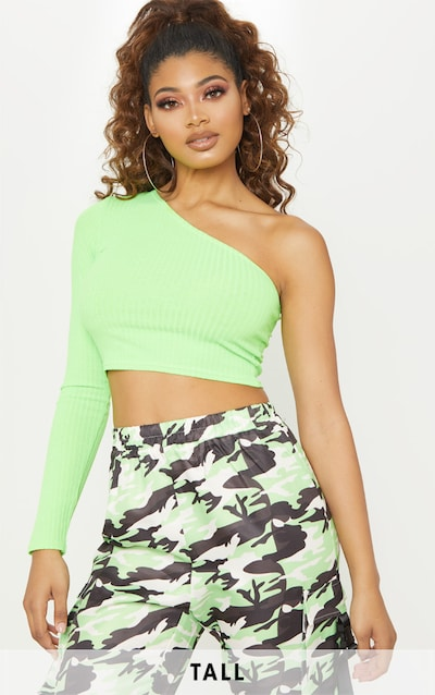 0e99699db91 Tall Neon Lime Rib One Shoulder Crop Top PrettyLittleThing Sticker