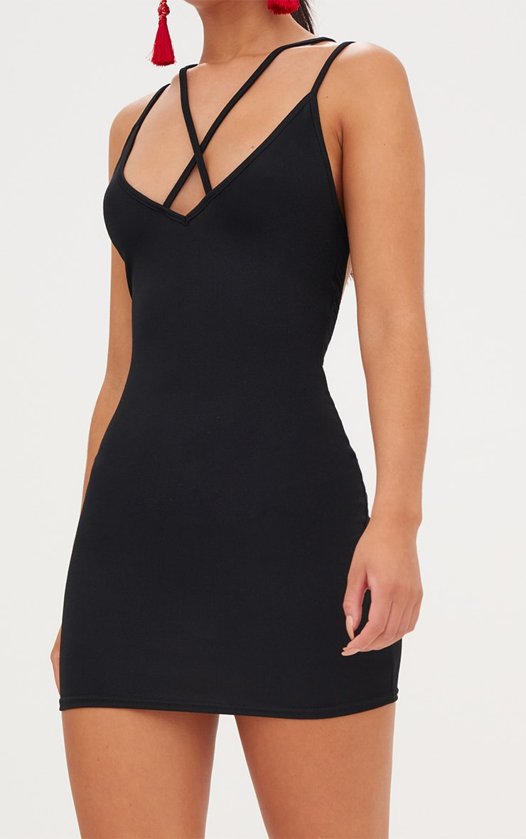 Black Strap Detail Low Back Bodycon Dress 5