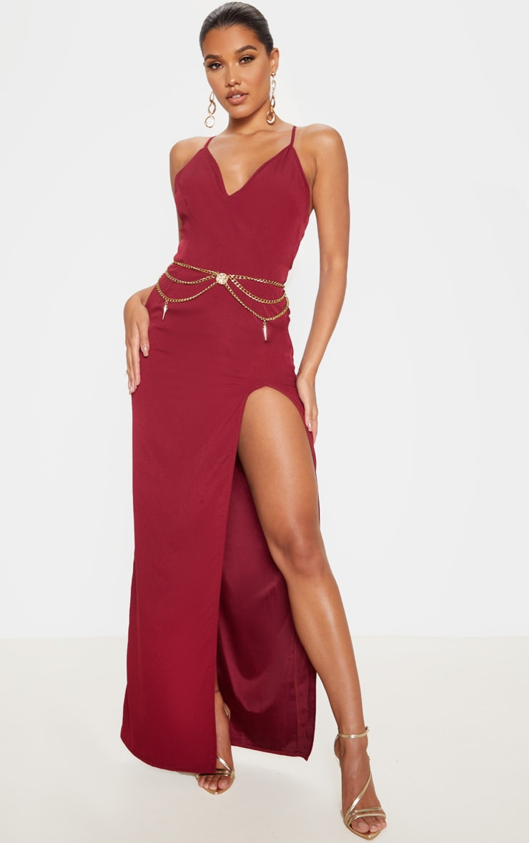 Burgundy Strappy Cross Back Maxi Dress 2