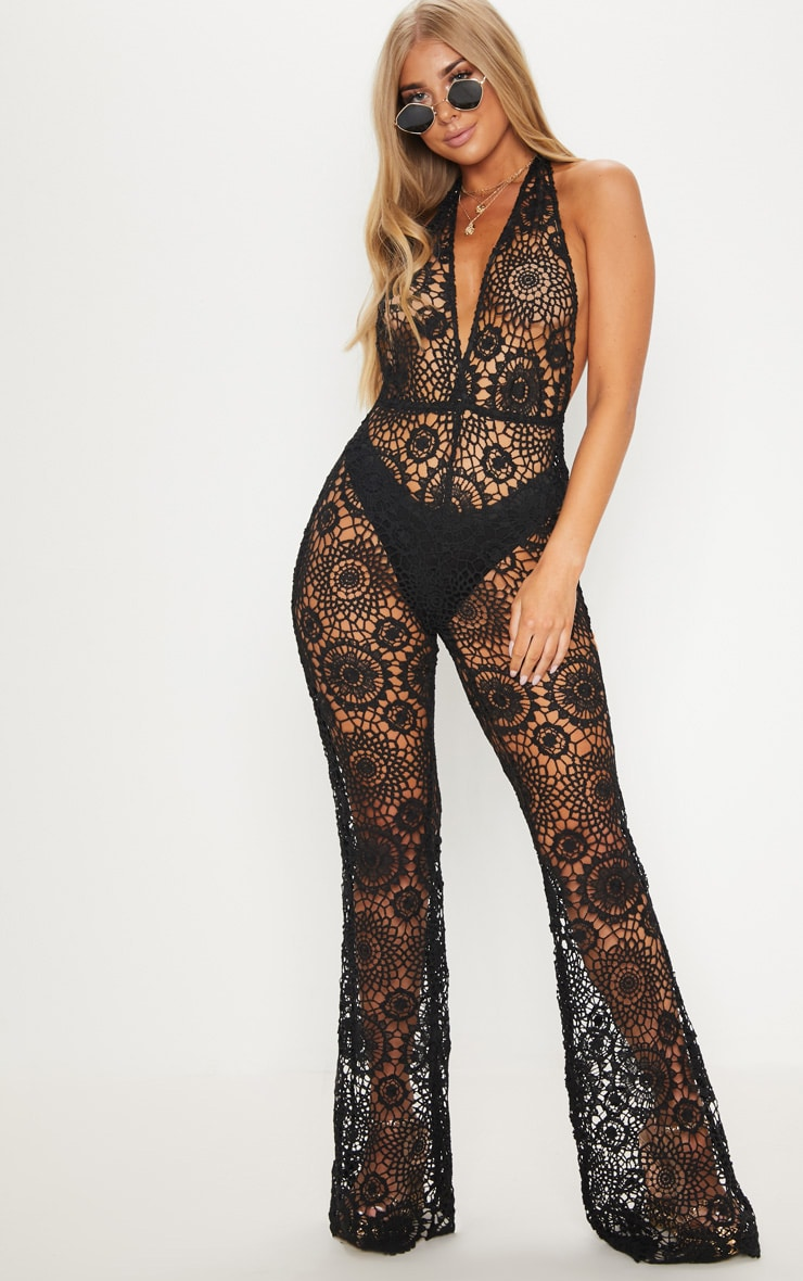Black Crochet Lace Halterneck Jumpsuit