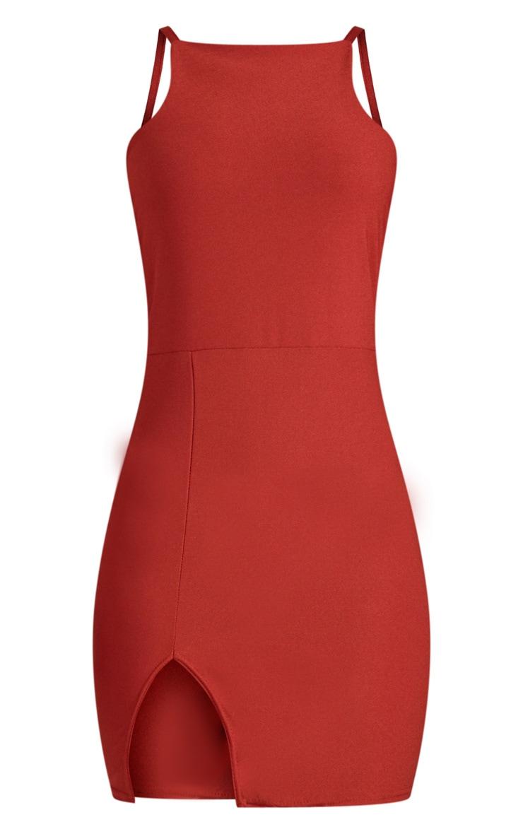 Auburn 90's Neck Split Font Bodycon Dress  3