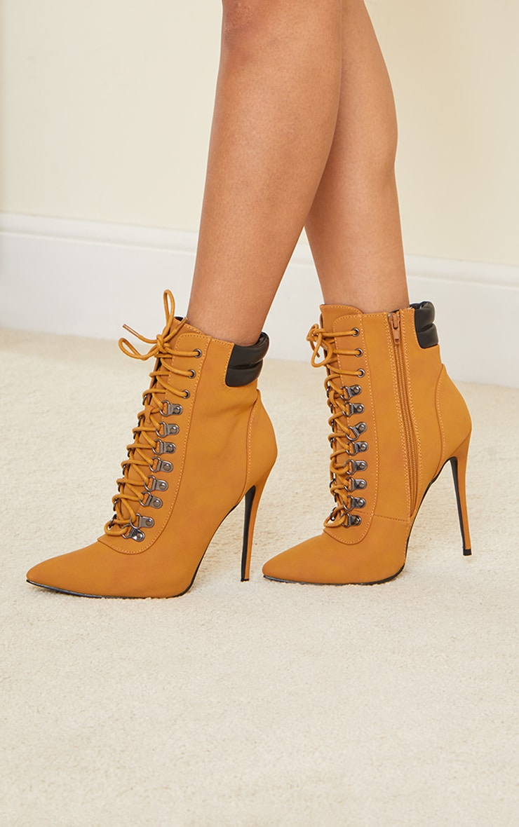 Tan Hiker Lace Up Stiletto Heels Boot 4