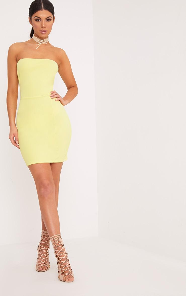 Loriella Lemon Textured Bandeau Bodycon Dress 4