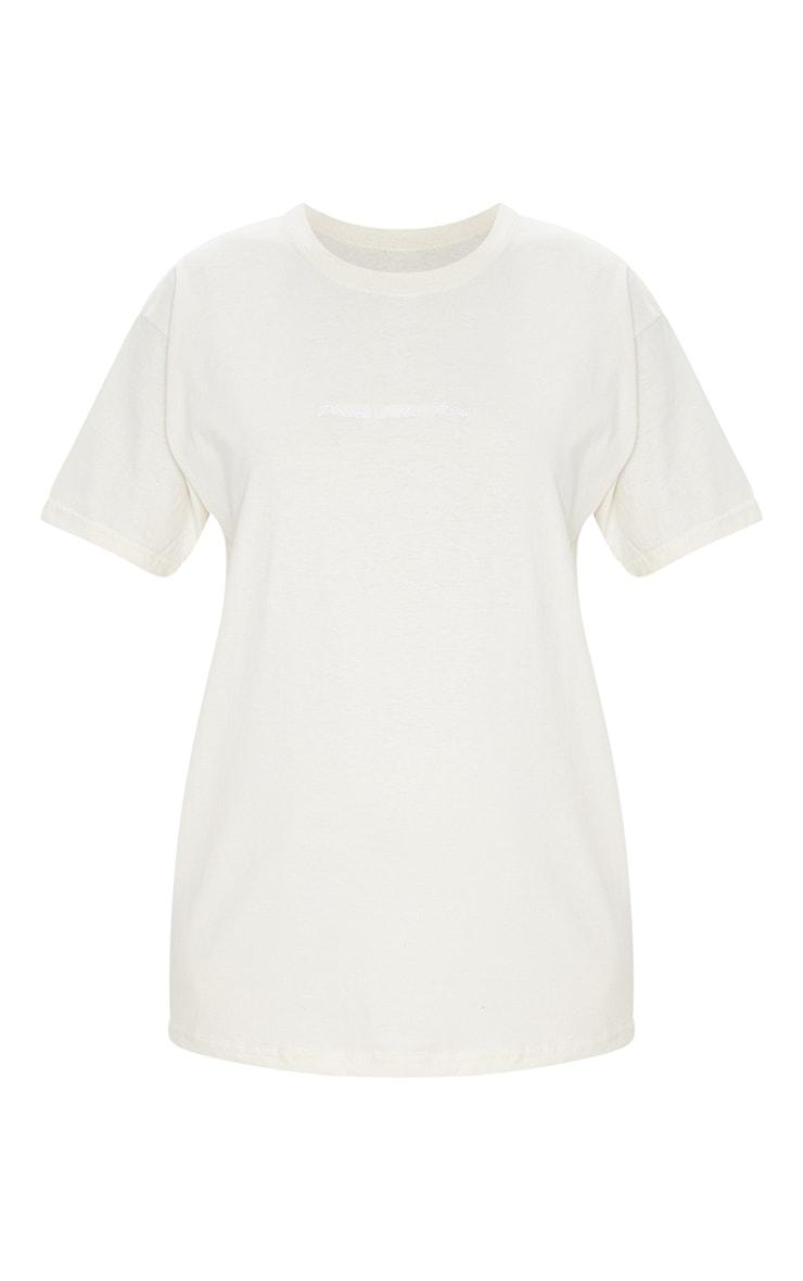 PRETTYLITTLETHING Sand Slogan Oversized T Shirt 5