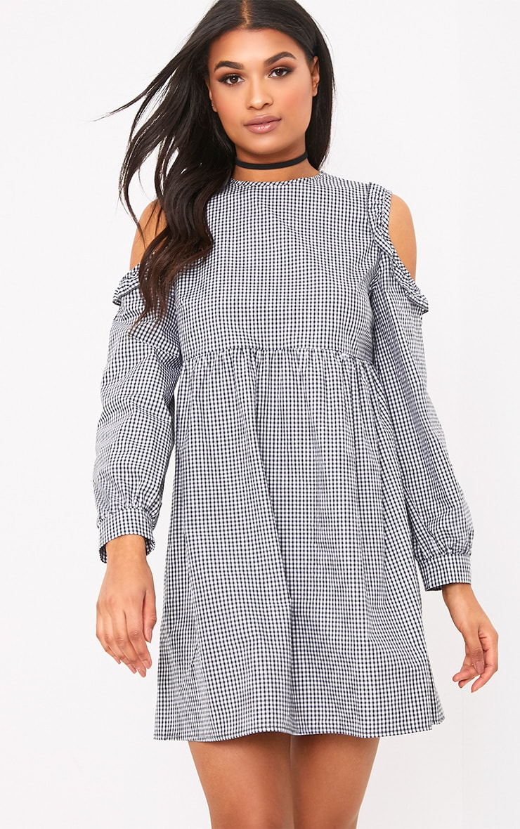 Mercie Black Gingham Cold Shoulder Frill Smock Dress  1
