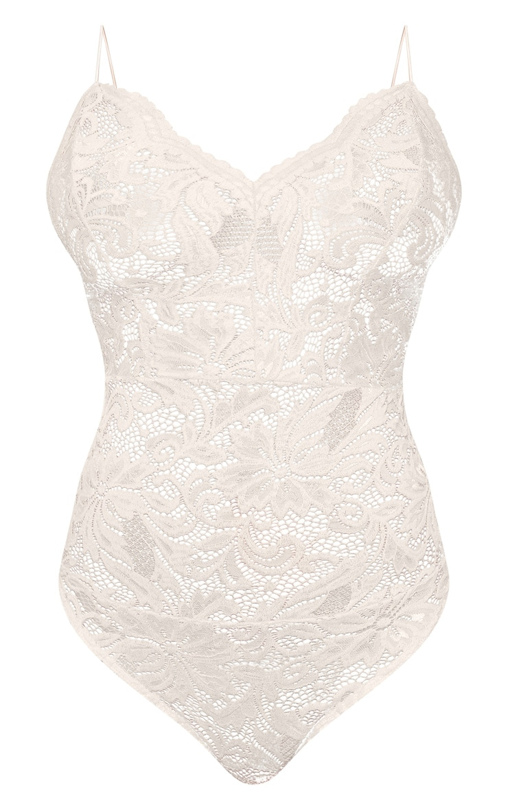 Tall Nude Sheer Lace Bodysuit 4