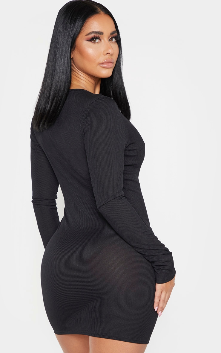 Shape Black Ribbed Button Front Long Sleeve Bodycon Dress 2
