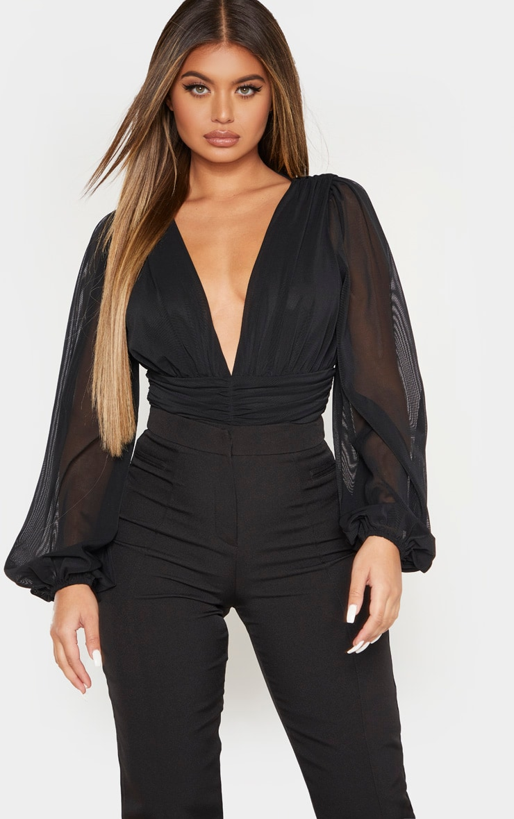 Black Mesh Ruched Waistband Bodysuit 1