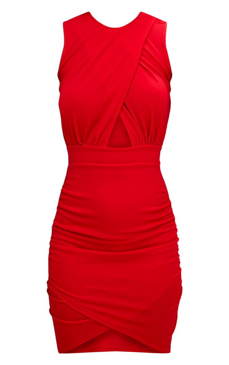 Red Cross Over Ruched Bodycon Dress 3