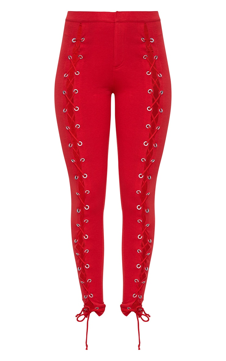 Red Front Lace Up Skinny Trousers 3