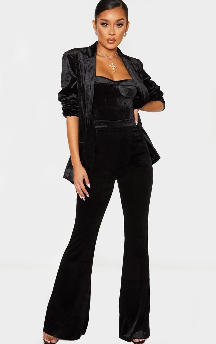Black Longline Velvet Blazer 4