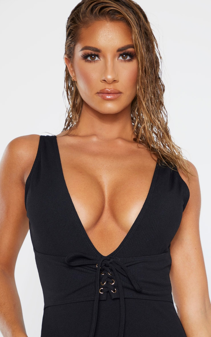 Black Rib Plunge Lace Up Belted Swimsuit 4