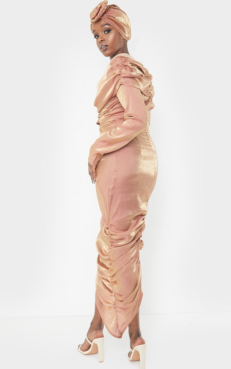 Bronze Metallic Ruched Wrap Midaxi Dress 2