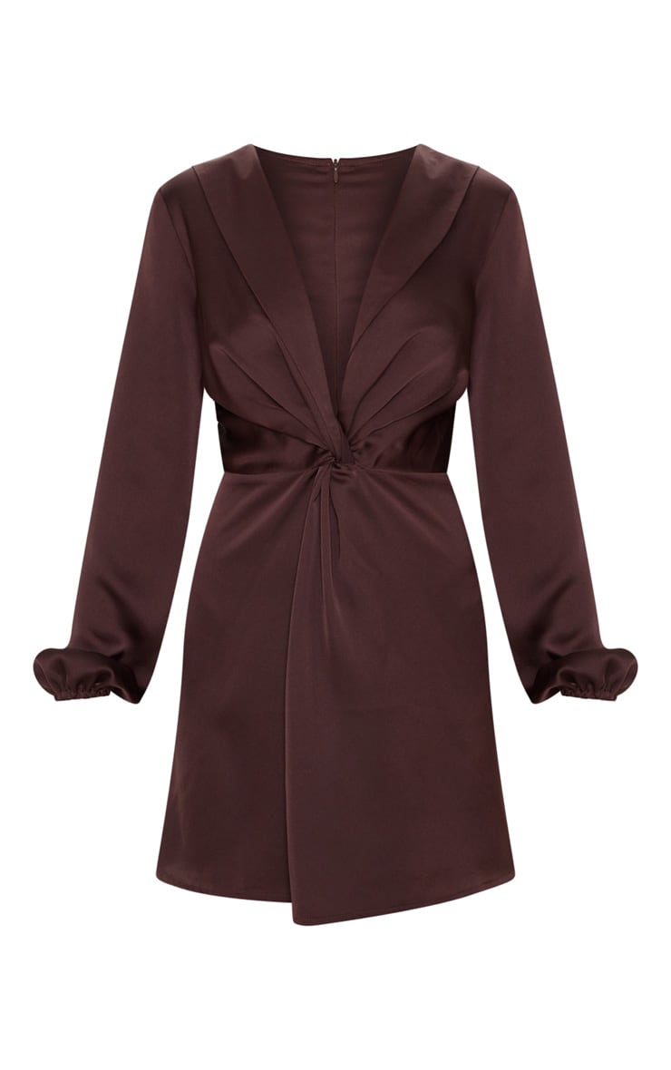 Chocolate Brown Satin Knot Detail Plunge Shift Dress 3