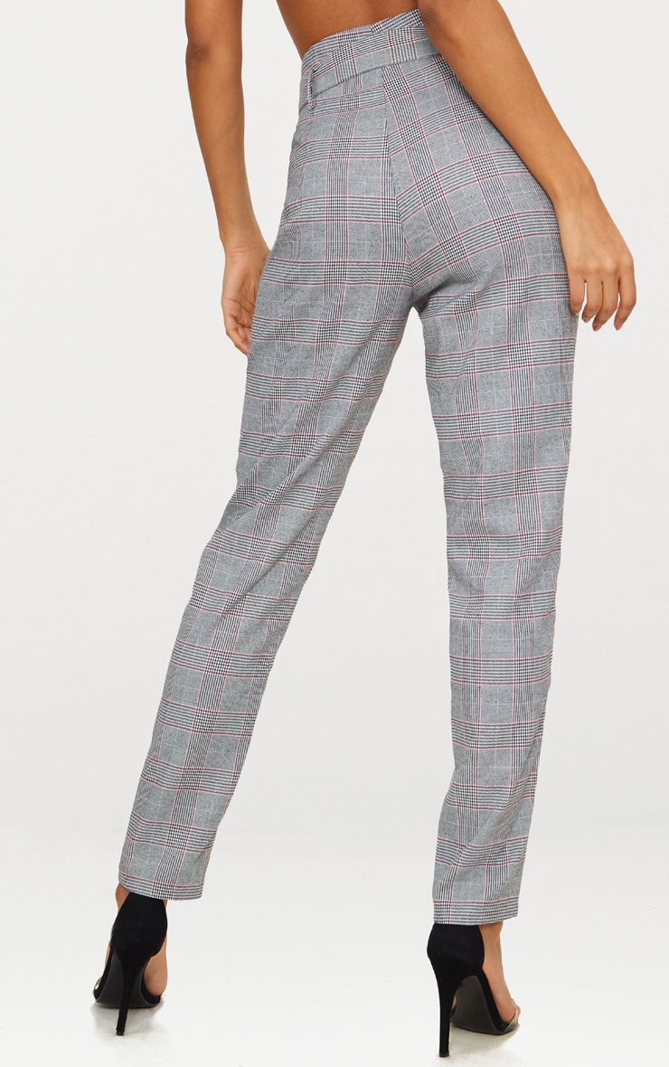 Grey Check Belted Tapered Trousers 4