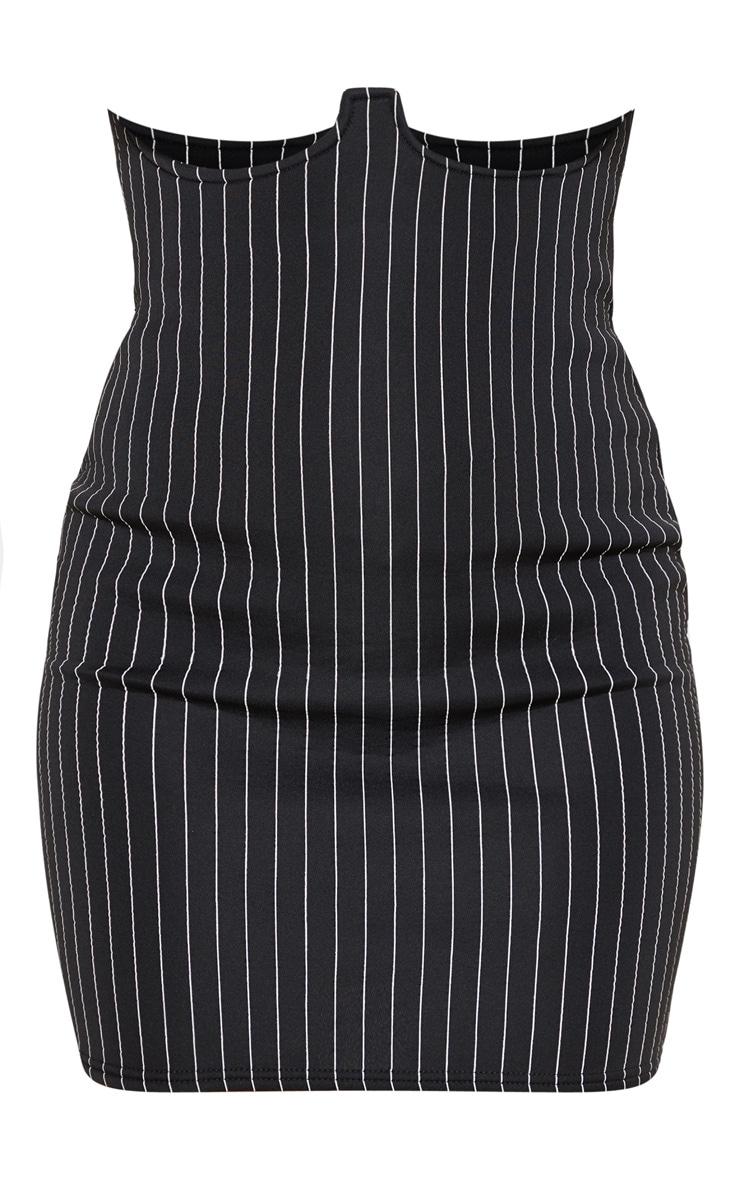 Mini-jupe rayée noire taille haute en néoprène style bustier 3