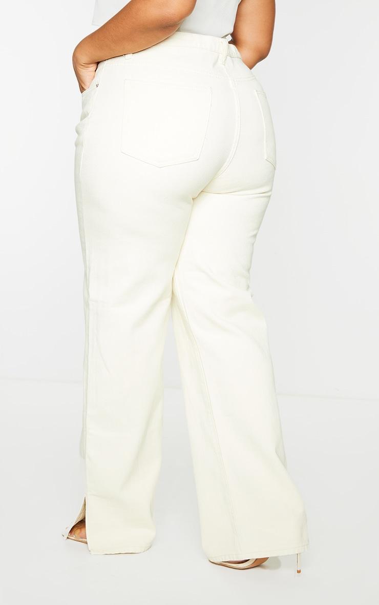 Plus Ecru Split Hem Jeans 3