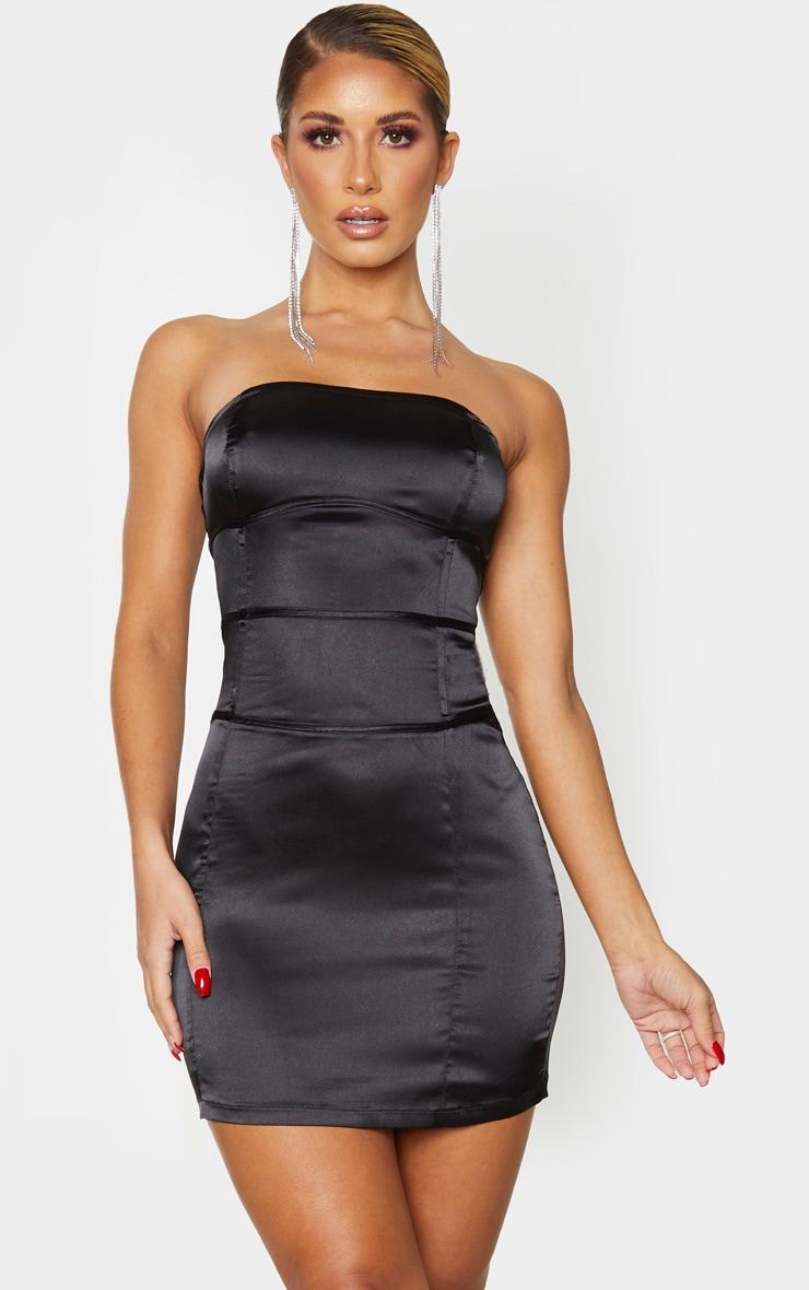Black Satin Binding Detail Bandeau Bodycon Dress 1