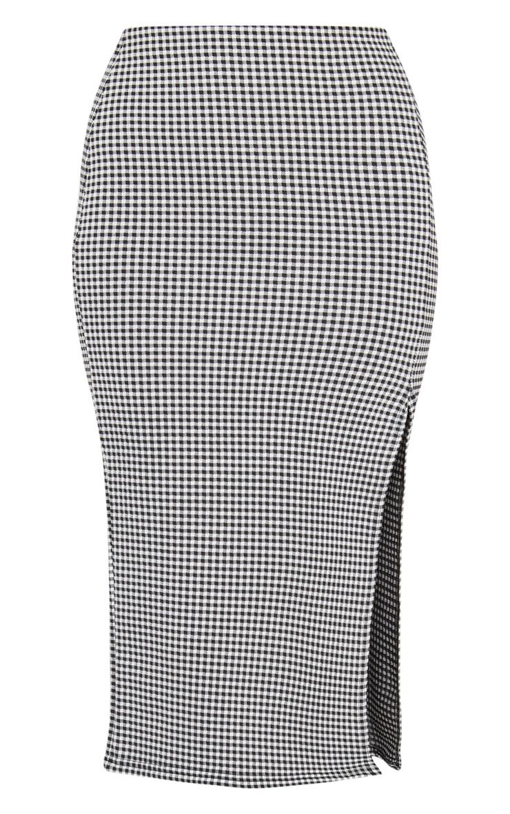 Black Gingham Split Detail Midi Skirt 3