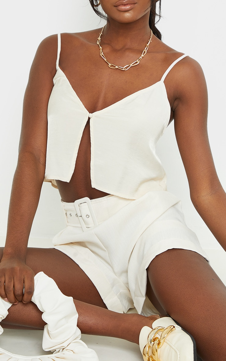 Tall Champagne Button Detail Split Front Strappy Crop Top 4