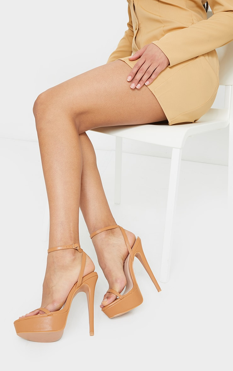 Tan PU Platform Strappy High Heel 1