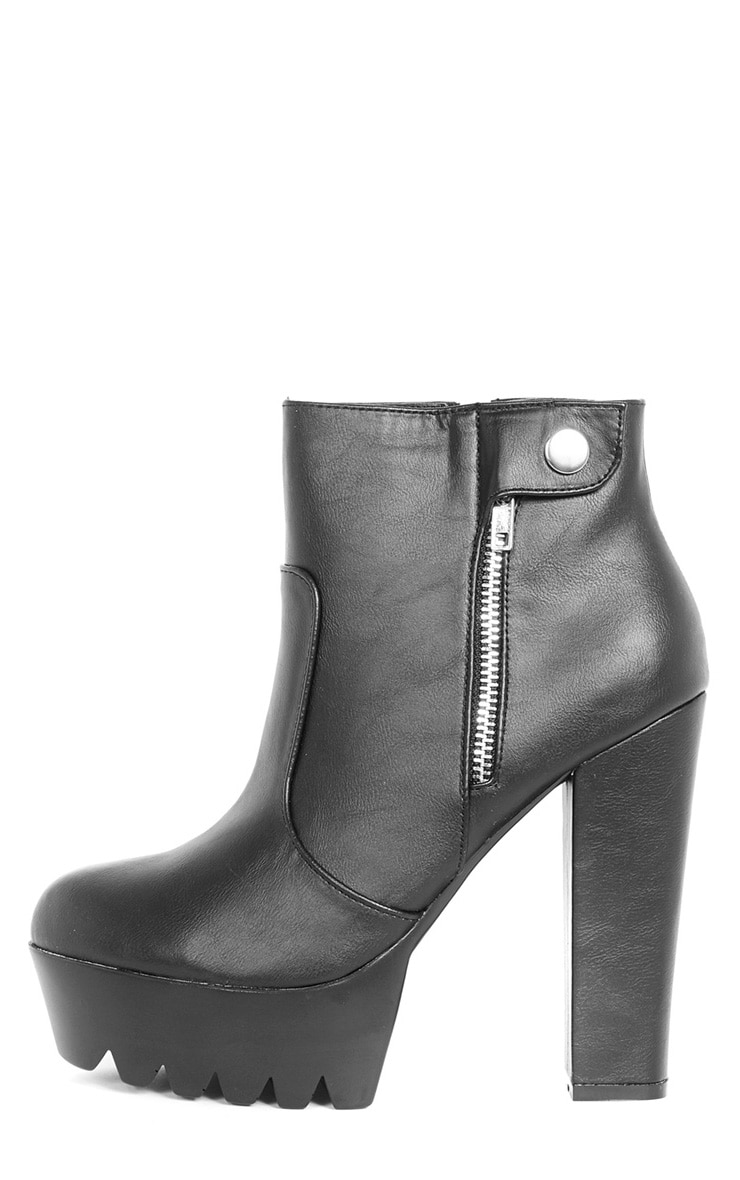 Liberty Black Cleated Sole Zip Detail Boot  1