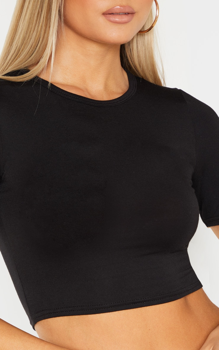 Tall Black Short Sleeve Crop Top 5