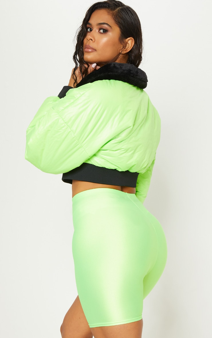 Lime Faux Fur Collar Cropped Puffer  3