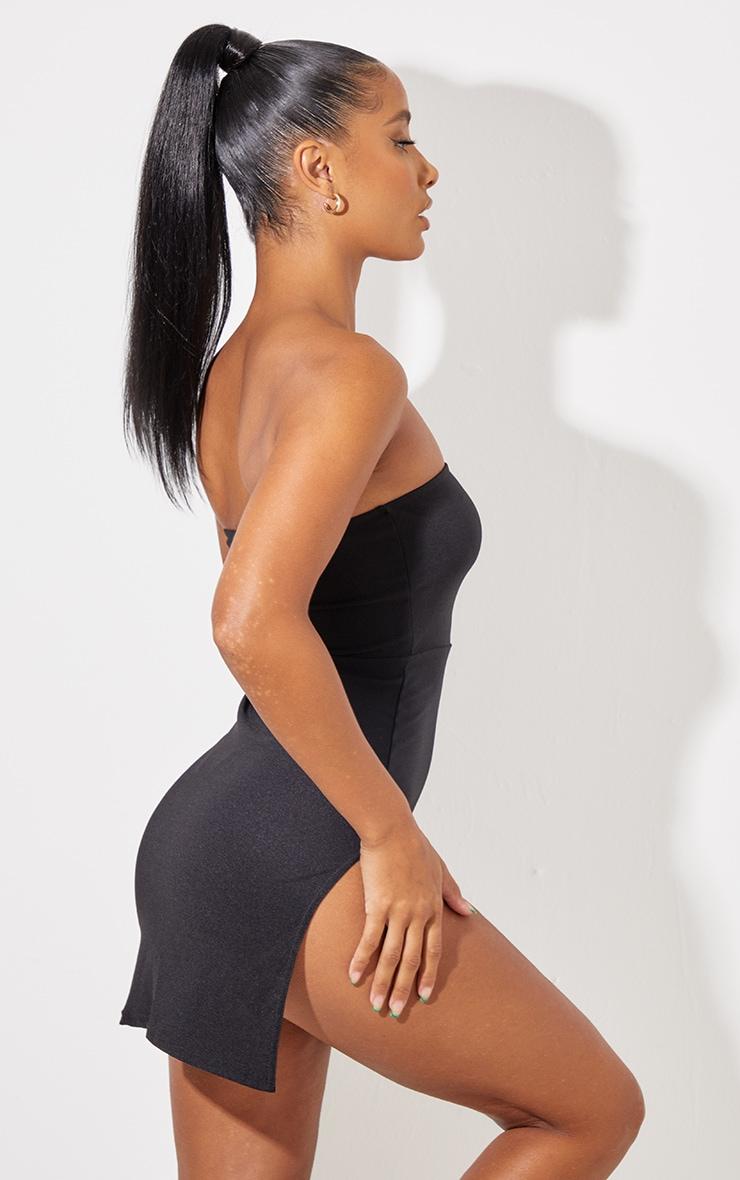 Black Crepe Split Side Bandeau Bodycon Dress 3