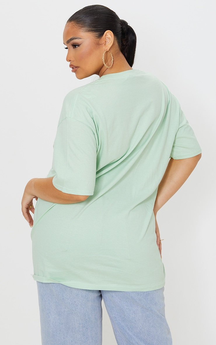 PRETTYLITTLETHING Plus Bright Green Cross Front Washed T Shirt 2