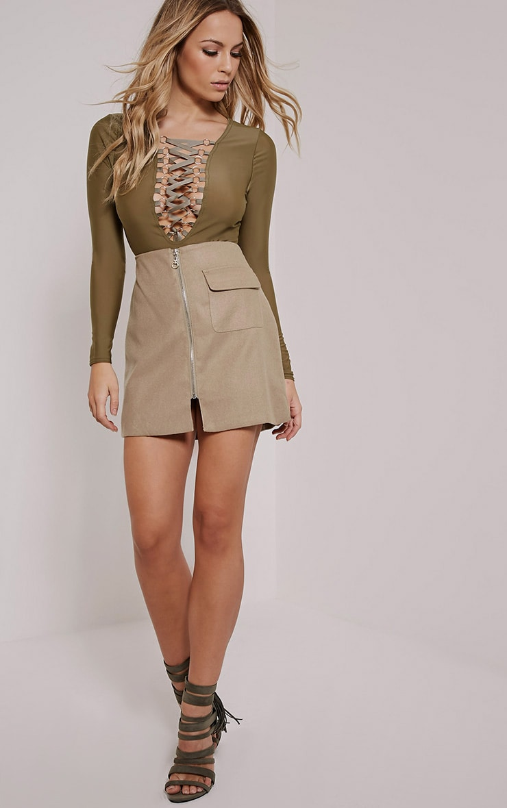 Enya Khaki Lace Up Front Bodysuit 3