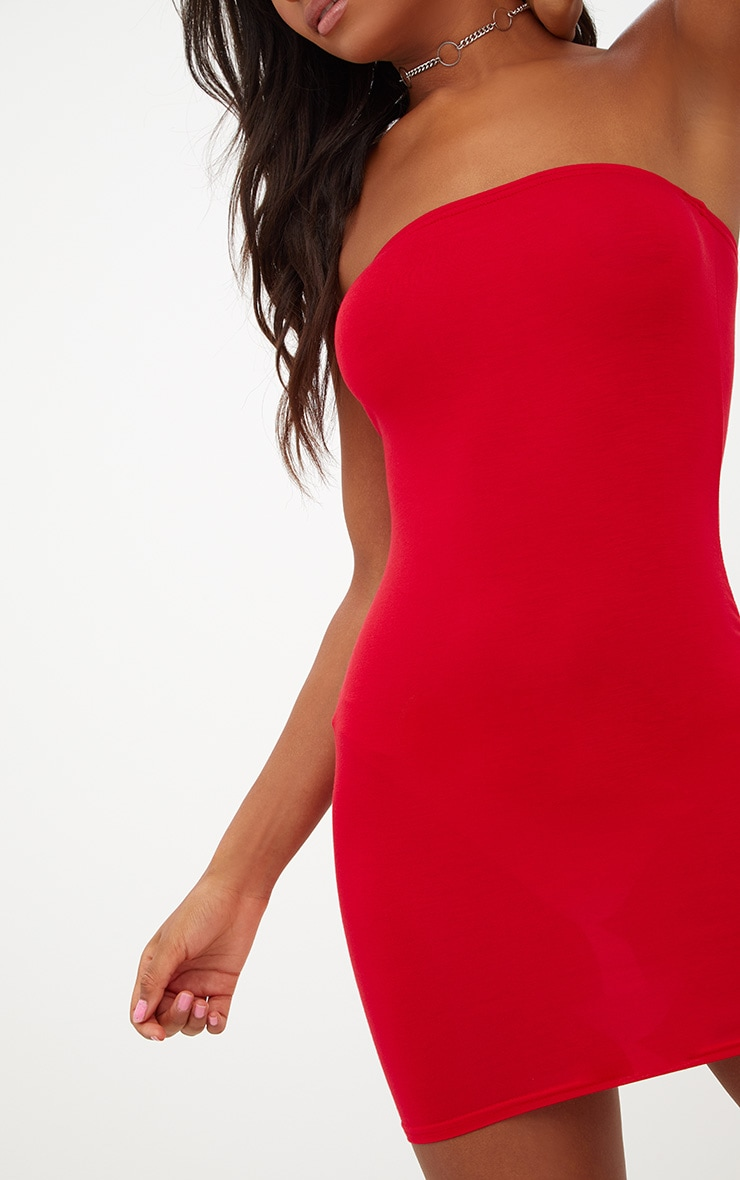 93d403cfe5b Basic Red Jersey Bandeau Bodycon Dress image 5