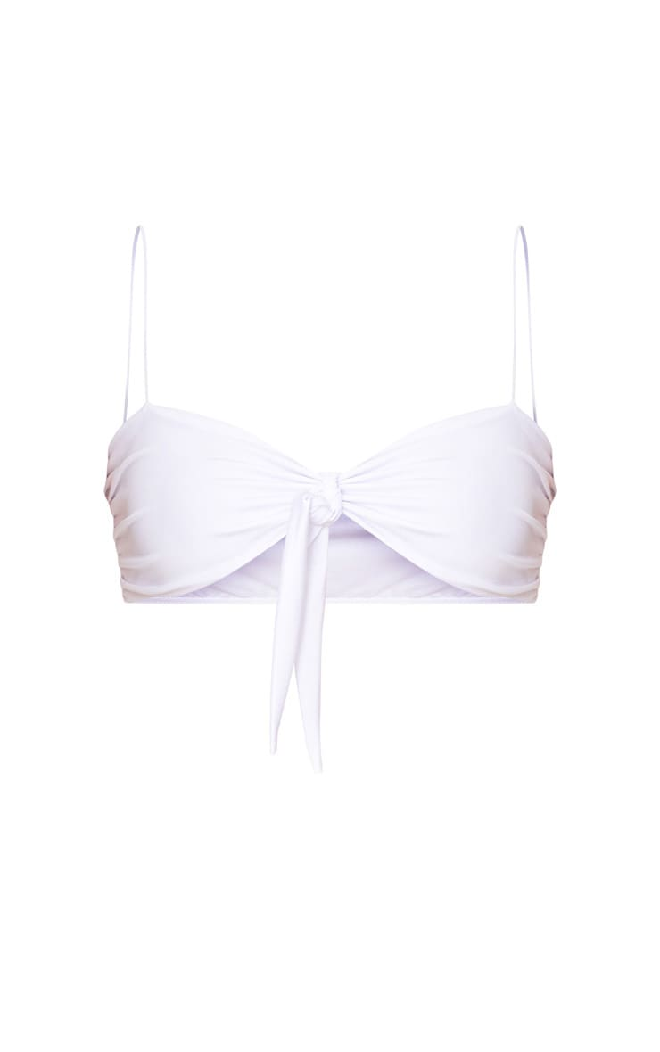 White Skinny Strap Bow Bikini Top 3