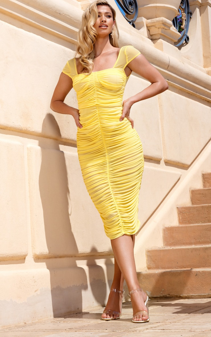 Lemon Mesh Ruched Midi Dress 1