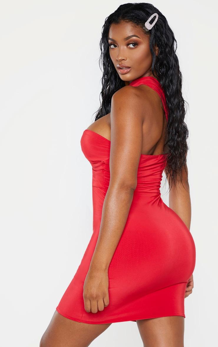 Shape Red Slinky One Shoulder Wrap Mini Dress 2