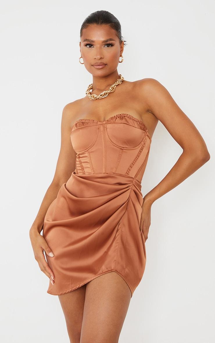 Mocha Satin Bandeau Corset Detail Gathered Skirt Bodycon Dress image 1