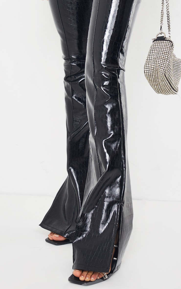 Black Croc Faux Leather Flared Trousers 4