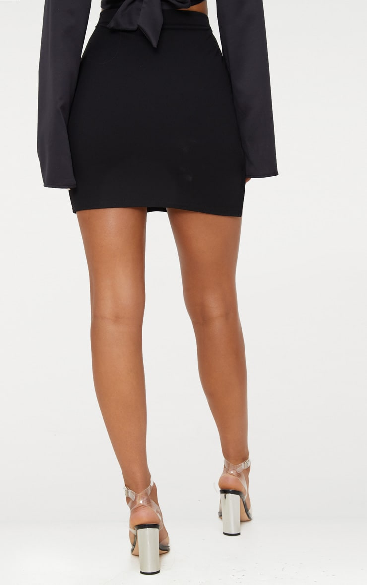 Black Lion Head Buckle Detail Mini Skirt 4