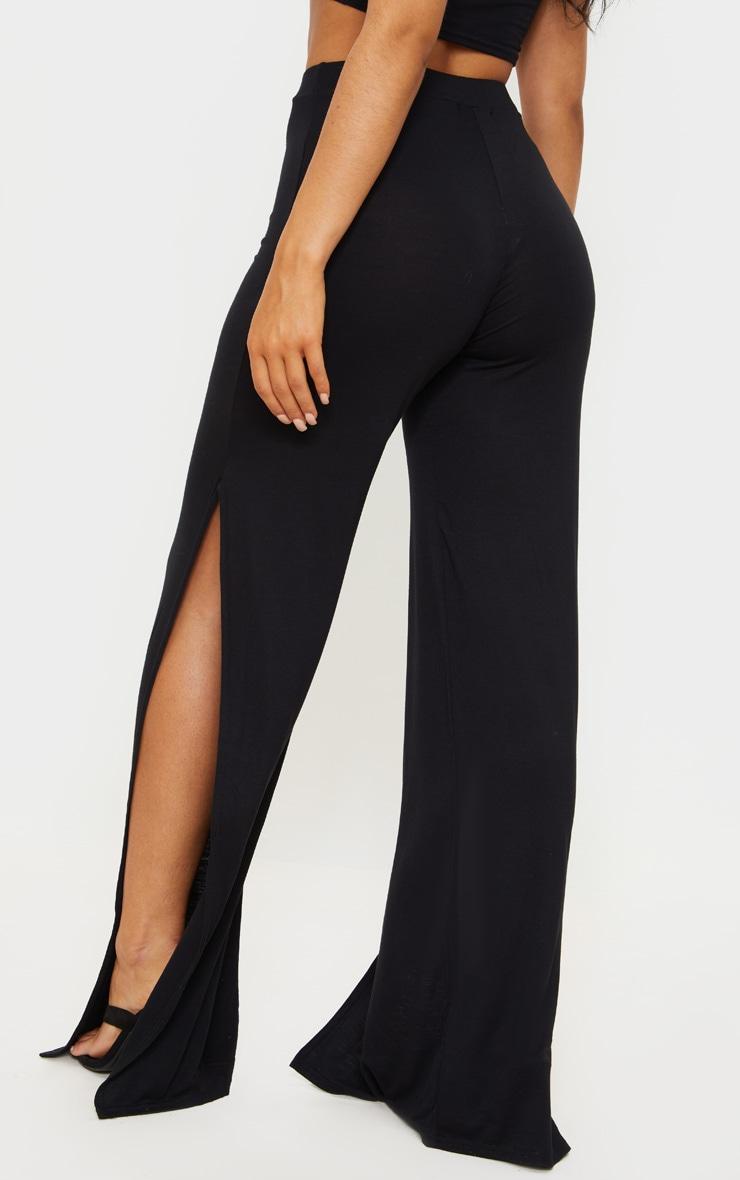 Black Jersey High Waist Split Wide Leg Pants 3