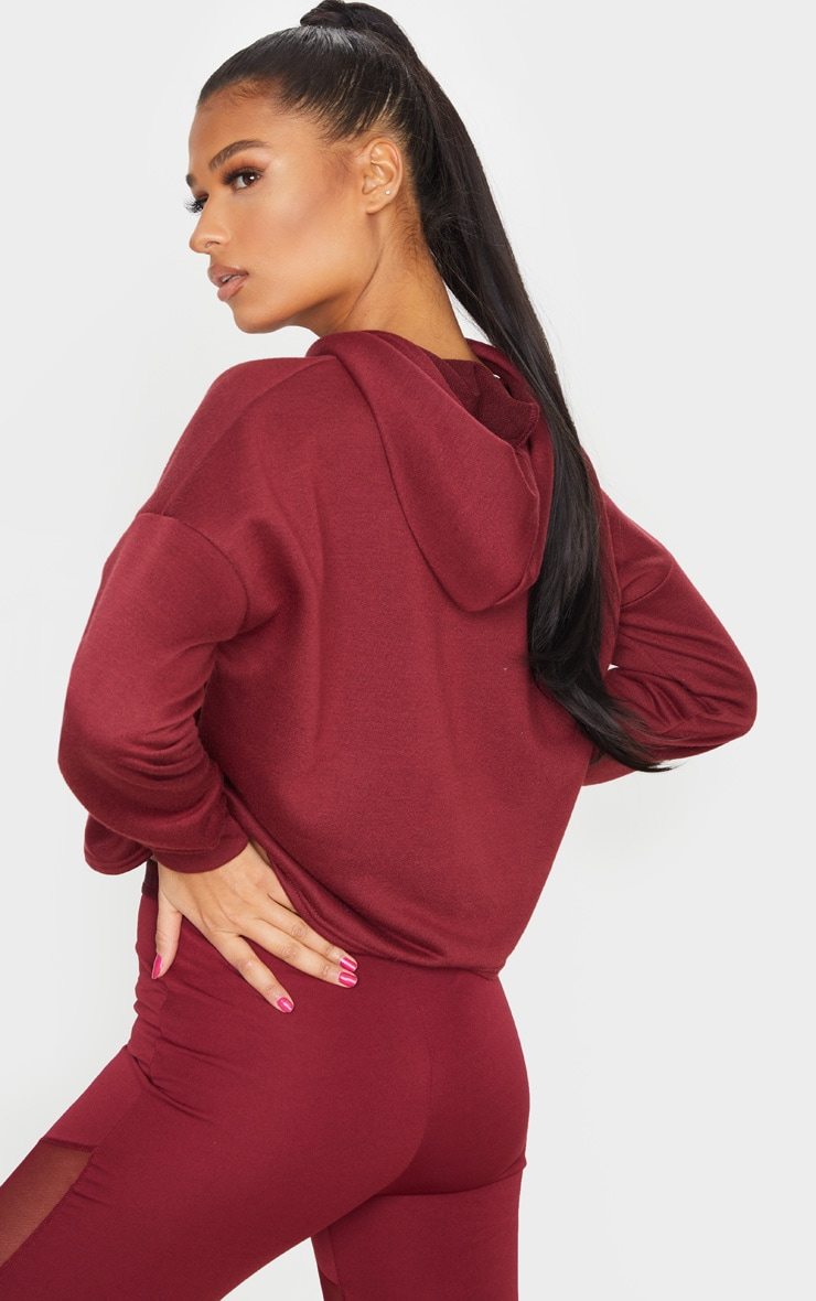 PRETTYLITTLETHING Berry Sport Cropped Hoodie 2