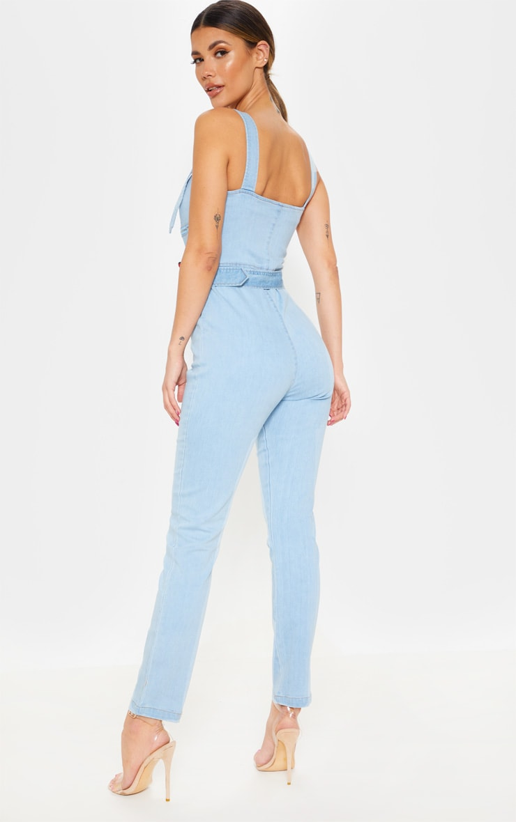 Light Wash Biker Belted Denim Catsuit 2