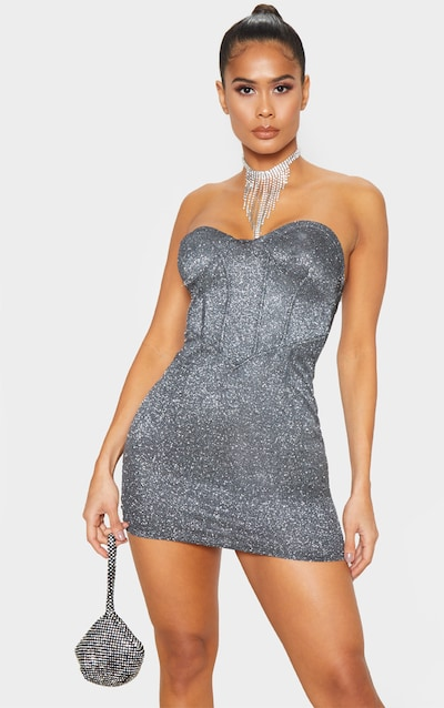 Black Bandeau Textured Glitter Cup Detail Bodycon Dress