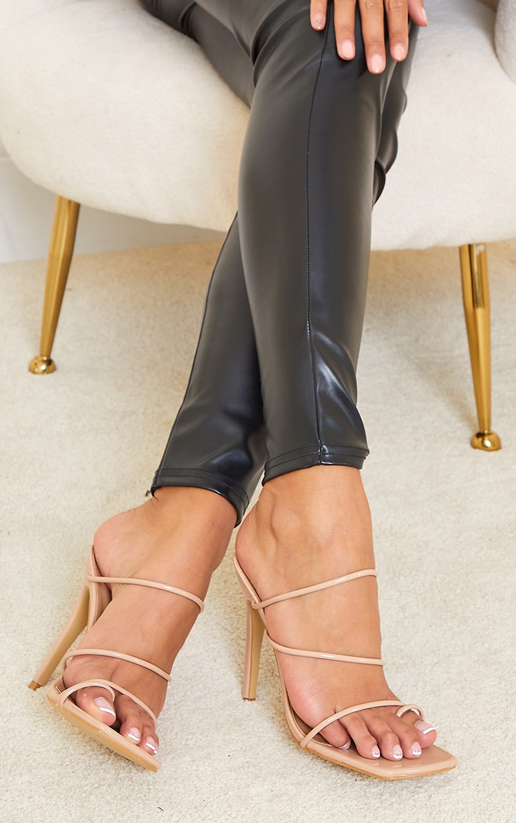 Sand Wide Fit Toe Loop Strappy High Heeled Mules 1